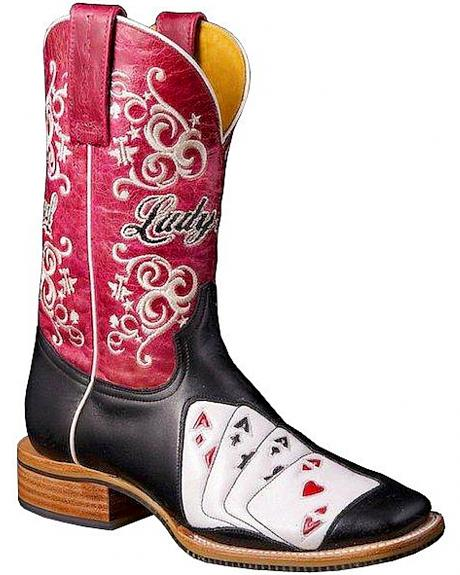 Tin Haul Lady Luck Vegas Cowgirl Boots - Square Toe