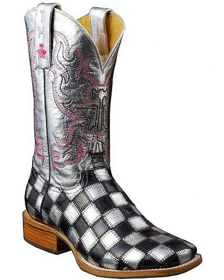 Tin Haul Shiny Metal Checkered Cowgirl Boots - Square Toe
