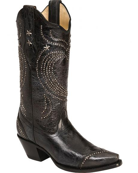 Corral Black Hearts Studded Cowgirl Boots - Snip Toe