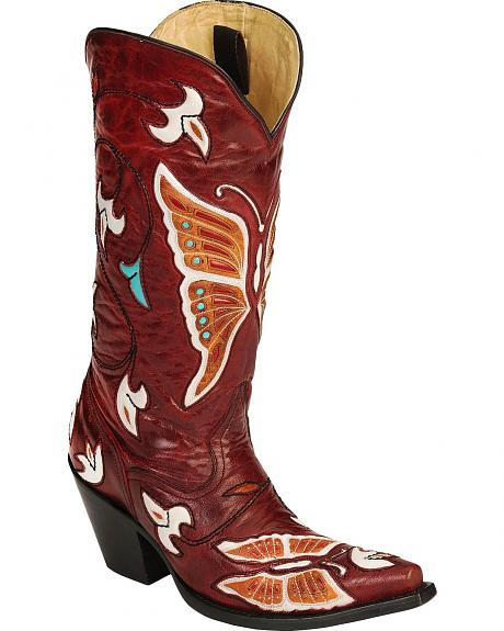 Corral Multi-Color Butterfly & Flower Inlay Cowgirl Boots - Snip Toe