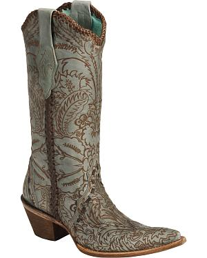 Corral Hand Tooled Turquoise Distressed Cowgirl Boots - Pointed Toe