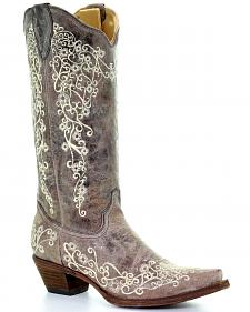 Corral Brown Crater with Bone Embroidery Cowgirl Boots - Snip Toe
