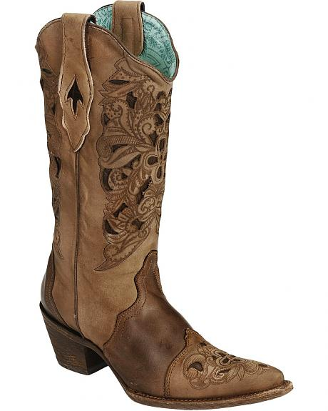 Corral Foral Laser Tooled Cowgirl Boots - Pointed Toe