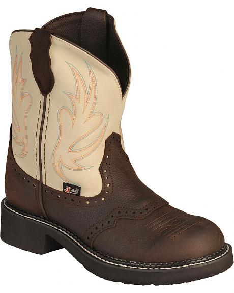 Justin Gypsy Cowgirl Cream Boots - Round Toe