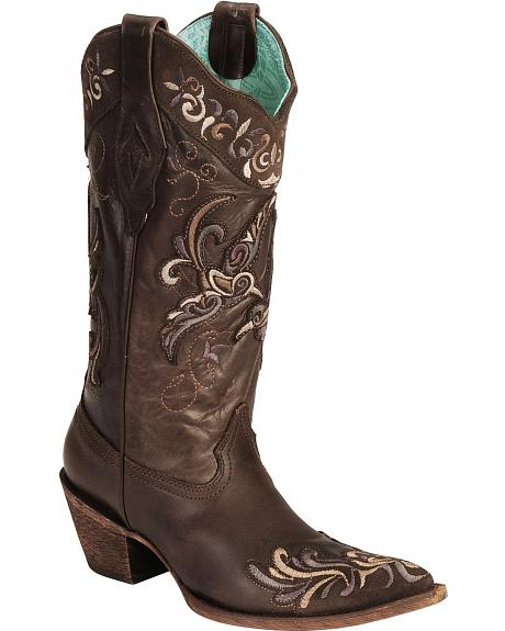 Corral Purple & Chocolate Overlay Boots Vintage Cowgirl Boots - Pointed Toe