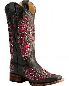 Corral Fuchsia Wing Inlay & Cross Embroidery Cowgirl Boots - Square Toe