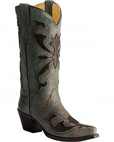 Corral Turquoise & Brown Beetle Patch Cowgirl Boots - Snip Toe