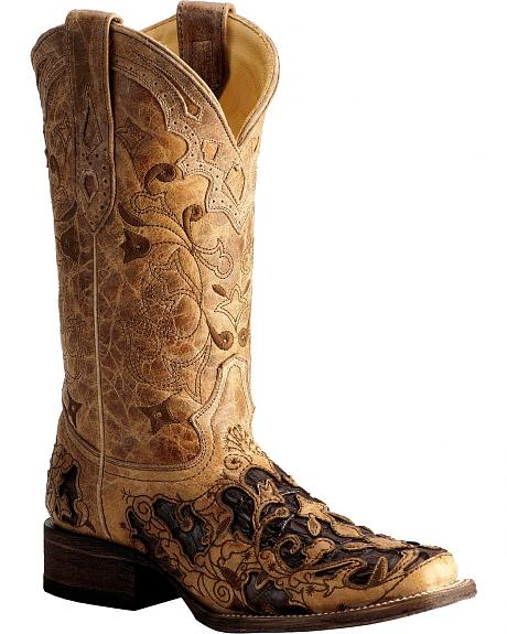 Corral Antique Caiman Inlay Cowgirl Boots - Square Toe