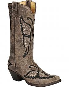 Corral Lace Butterfly Inlay Cowgirl Boots - Snip Toe