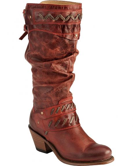 Corral Whip Stitch Harness Strap Cowgirl Boots - Round Toe