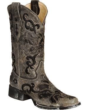 Corral Studded Leather Inlay Cowgirl Boots - Square Toe
