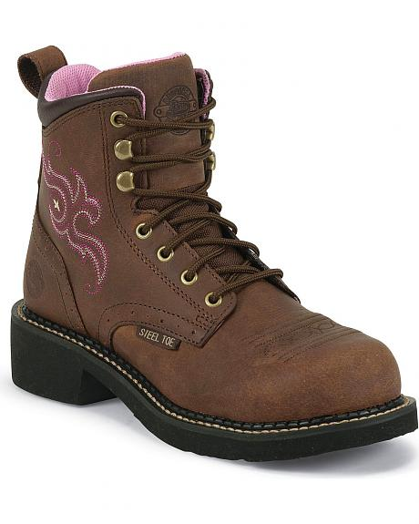 Justin Gypsy Aged Bark Work Boots - Steel Toe