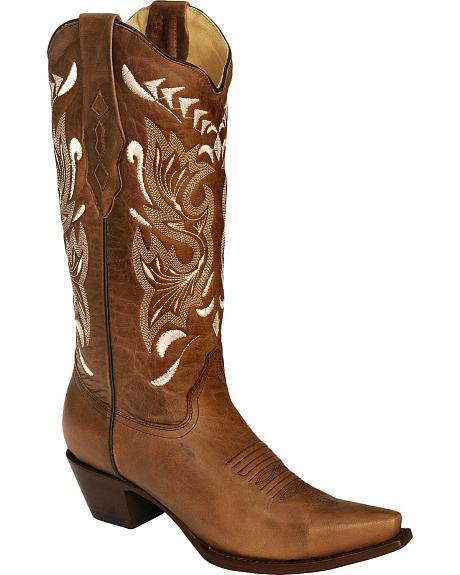 Corral Sand & Bone Embroidered Cowgirl Boots - Snip Toe