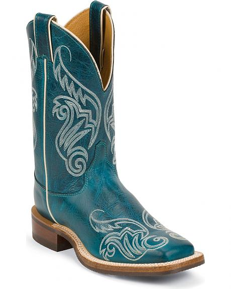 Justin Bent Rail Turquoise Damiana Cowgirl Boots - Square Toe