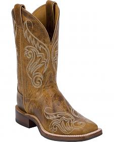 Justin Bent Rail Tan Damiana Cowgirl Boots - Square Toe