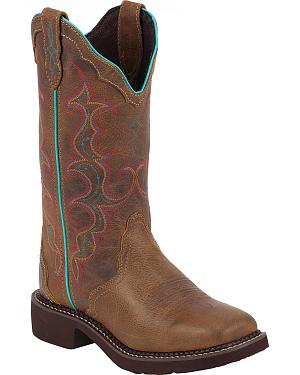 Justin Gypsy Vibrant Embroidered Cowgirl Boots - Square Toe