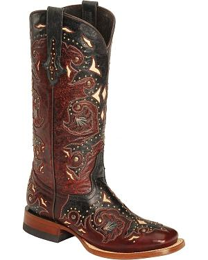 Lucchese Handcrafted 1883 Fiona Red Oklahoma Cowgirl Boots - Square Toe