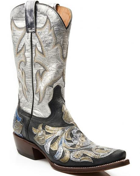 Stetson Metallic Tooled Overlay Leather Cowgirl Boots - Snip Toe