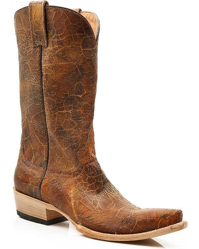 Stetson Crackled Leather Cowgirl Boots Snip Toe Western & Country 12-021-6105-0737