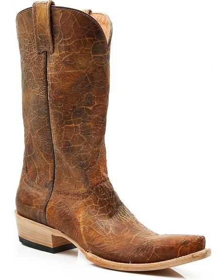 Stetson Crackled Leather Cowgirl Boots - Snip Toe