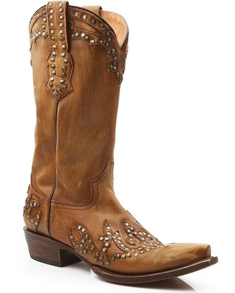Stetson Hand Sanded Studded Overlay Cowgirl Boots - Snip Toe