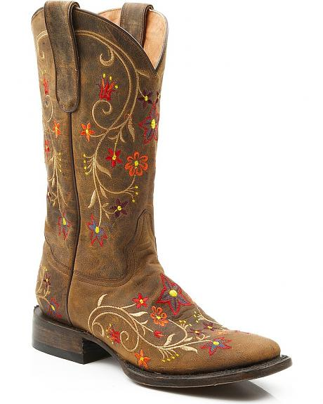 Stetson Mad Dog Goat Floral Embroidered Cowgirl Boots - Square Toe