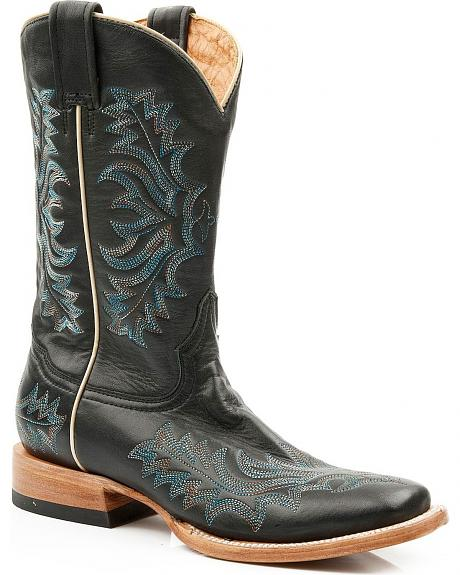 Stetson Burnished Blue Stitched Cowgirl Boots - Square Toe