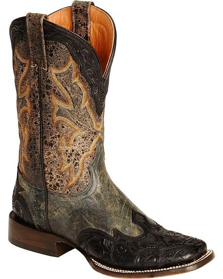 Stetson Two-Tone Hand Tooled Wingtip Cowgirl Boots - Square Toe
