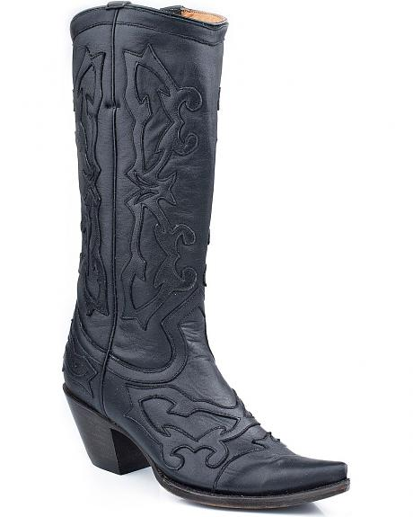 Stetson Oiled Black Overlay Cowgirl Boots - Snip Toe