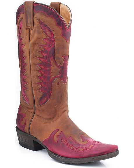 Stetson Eagle Overlay Cowgirl Boots - Snip Toe