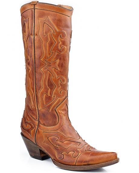 Stetson Antique Burnished Overlay Cowgirl Boots - Snip Toe