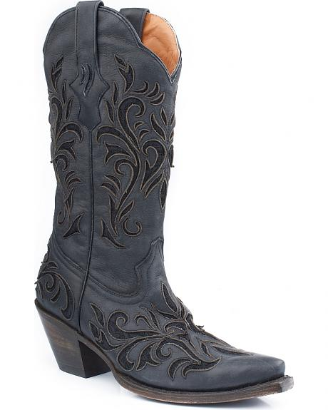 Stetson Distressed Underlay Cowgirl Boots- Snip Toe