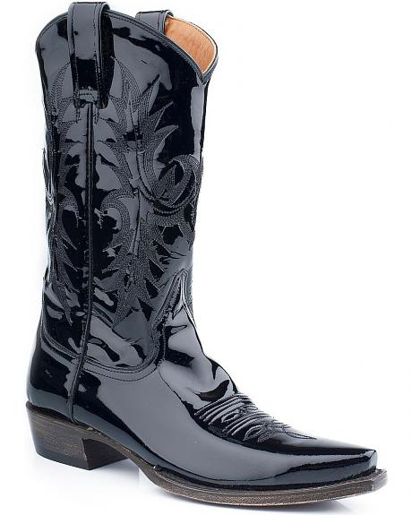 Stetson Black Patent Leather Cowgirl Boots - Snip Toe