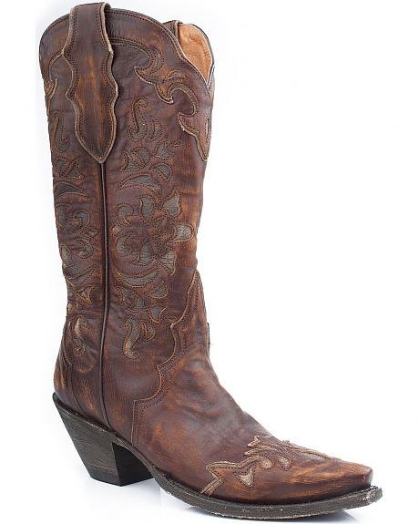 Stetson Sanded Vamp w/ Overlay Cowgirl Boots - Snip Toe