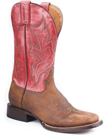 Stetson Metallic Pink Cowgirl Boots- Square Toe