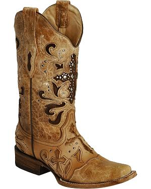 Corral Studded Cross Inlay Cowgirl Boots - Square Toe