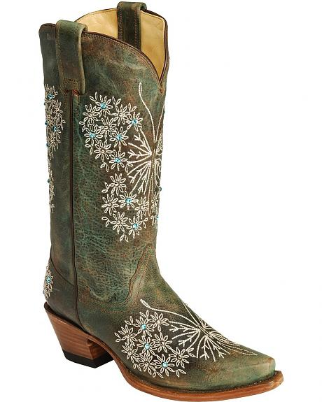 Corral Turquoise Floral Embroidered Rhinestone Cowgirl Boots - Snip Toe