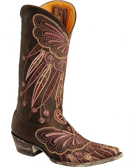 Old Gringo Lakota Purple Butterfly Embroidered Cowgirl Boots - Pointed Toe