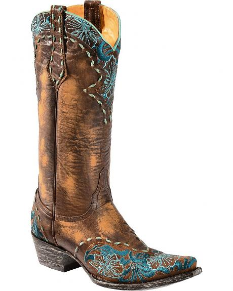 Old Gringo Erin Turquoise Floral Embroidered Cowgirl Boots - Snip Toe