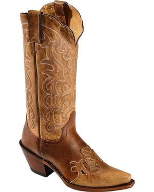Justin Moka Damiana Wingtip Cowgirl Boots - Snip Toe
