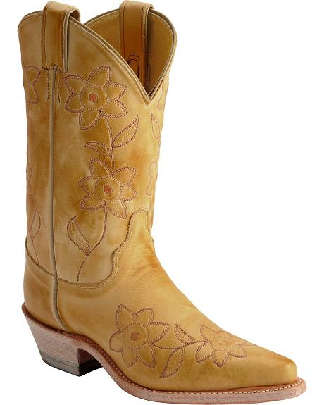 Justin Deertan Floral Embroidered Cowgirl Boots - Snip Toe