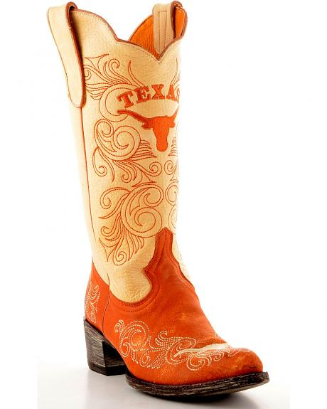 University of Texas Gameday Crackelada Cowgirl Boots - Pointed Toe