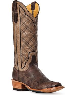 Cinch Classic Vintage Plaid Embroidered Cowgirl Boots - Square Toe