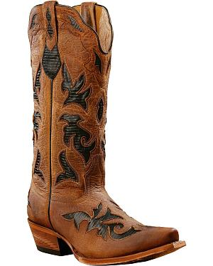 Johnny Ringo Black Lizard Print Inlay Cowgirl Boots - Snip Toe
