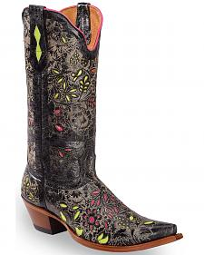 Johnny Ringo Floral Inlay Cowgirl Boots - Snip Toe