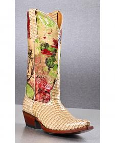 Johnny Ringo Women's Faux Snakeskin Printed Cowgirl Boots - Square Toe