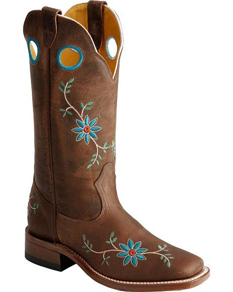 Boulet Floral Embroidered Cowgirl Boots - Square Toe