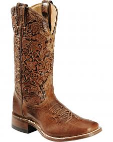 Boulet Hand Tooled Calf Cowgirl Boots - Square Toe