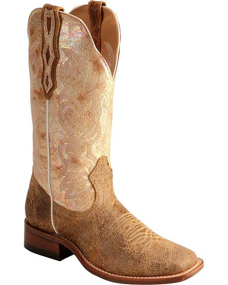 Boulet Iridescent Gilded Gold Calf Cowgirl Boots - Square Toe