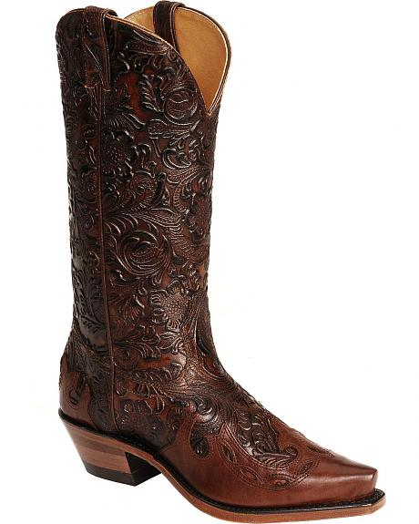 Boulet Hand Tooled Calf with Wingtip Cowgirl Boots - Snip Toe